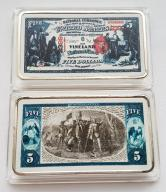 USA PIĘKNA SZTABKA 5$ AG KOLOR PLATED POLECAM