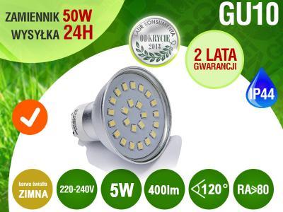 Żarówka GU10 24 LED SMD 5W 400lm 50W RA>80 zimn