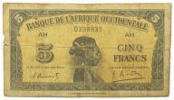 23.Fr.Afryka Zach., 5 Franków 1942 rzadki, St.3/4+