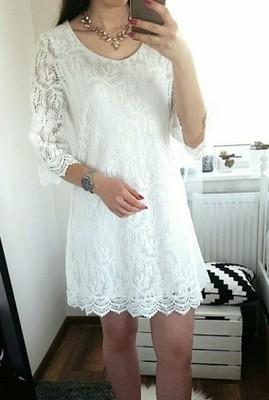 Biała koronkowa sukienka H&M