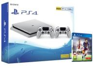 PLAYSTATION 4 SLIM SILVER 500GB +2 PADY +FIFA *Wwa