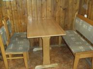 Używany komplet stołowy/stół,2 krzesła,ława/olcha