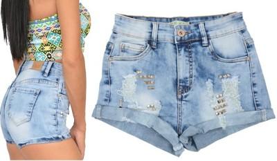 02e8c858 YSG4026 jeansowe SPODENKI damskie WYSOKI stan - 6840371978 ...