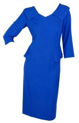 18ef660942 Chabrowa sukienka z baskinką biuro wesele 40   42 - 6697898890 ...