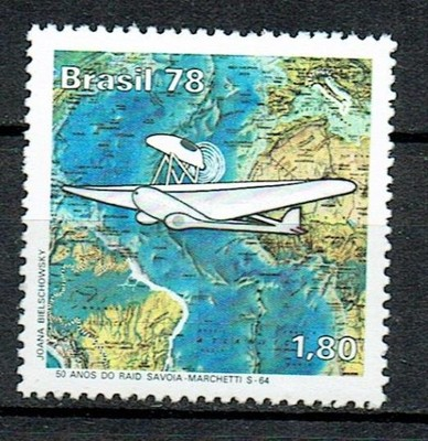 1210 ** czyste Brazylia 1658 samolot mapa