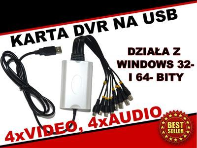 Karta DVR VIDEO USB 4CH monitoring POLSKI_program