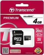 TRANSCEND 4 GB micro SD HC Class 10 Premium 20MB/s