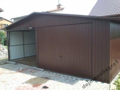 Garaż Blaszany 6x5 Brązowy 2 Stanowiska 6197882851 Oficjalne