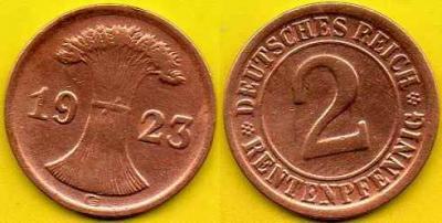 NIEMCY  2 Rentenpfennig  1923 r  G