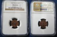 2 grosze 1938 r. grading NGC  MS 63 RB