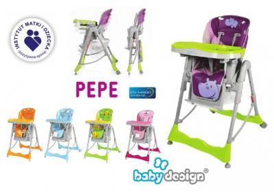 Krzesełko do karmienia BABY DESIGN PEPE - 2 TACKI