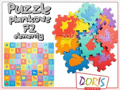 DUŻE Puzzle PIANKOWE 16X16 MATA EDUKACYJNA XL 72el