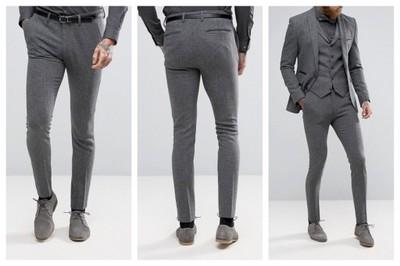 mm17 spodnie szare eleganckie skinny W32 L32