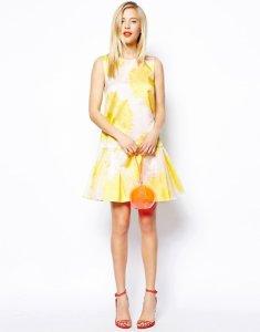 3e734637c5 ASOS biało żółta sukienka kwiaty organza 42 XL - 6202004472 ...