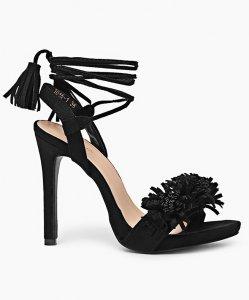 dda15945c2dd32 Zamszowe sandały szpilki Angela Czarne - 6260920514 - oficjalne ...