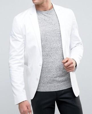 me78 marynarka ex Asos skinny biała bawełna 48