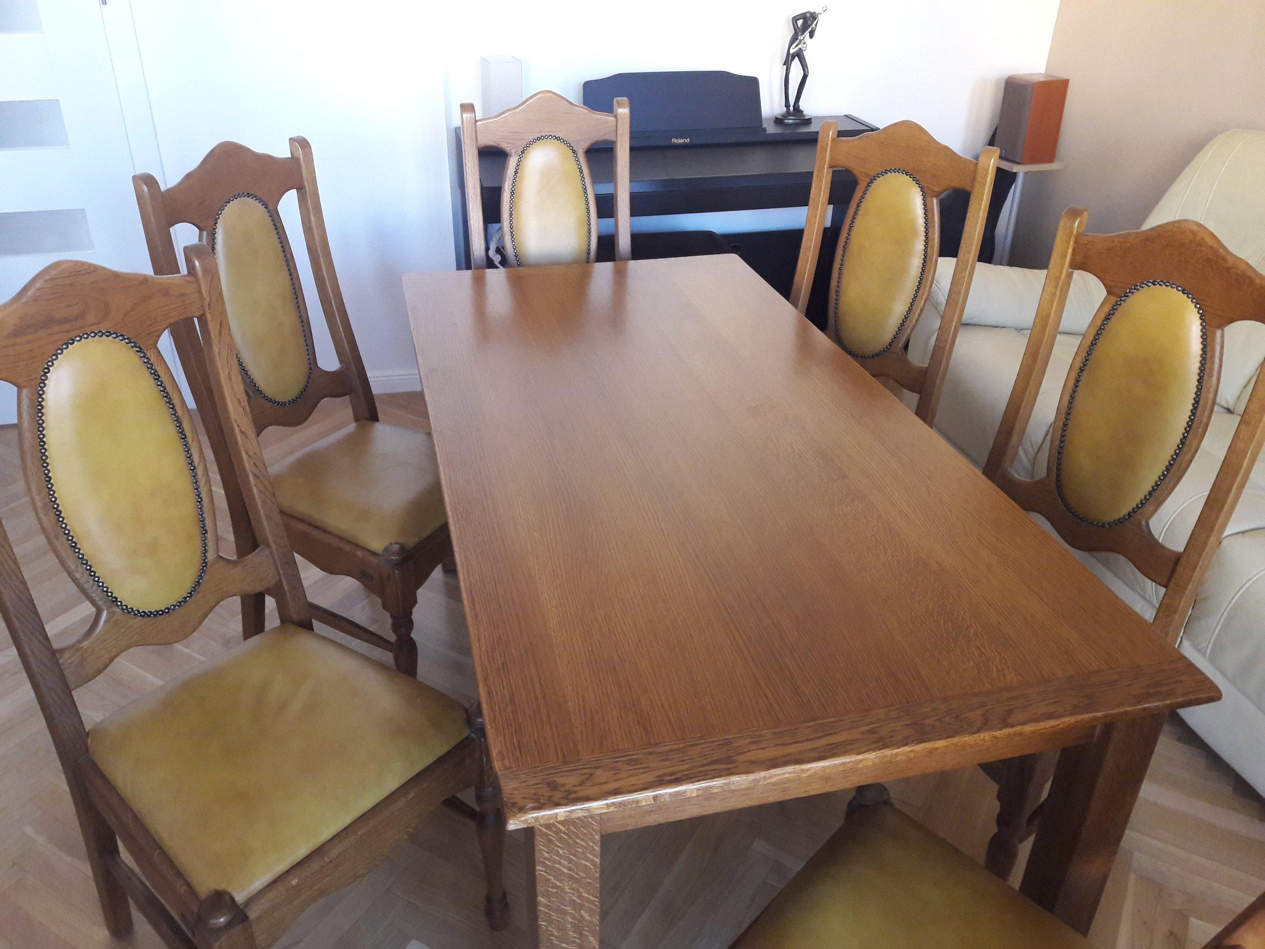 Stół Dębowy Firmy Zakor Z 6 Cioma Krzesłami 7022206001 Oficjalne