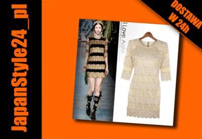 ce49f5dea5 Morelowa sukienka sukienki z koronki Japan Style - 3436043850 ...