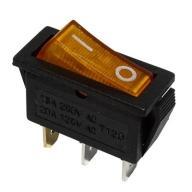 Przełącznik kołyskowy żółty 20A 12V podświetlany