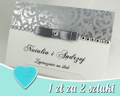 Zaproszenia ślubne Koronka New 1 Zł Za 2 Sztuki 6558333172