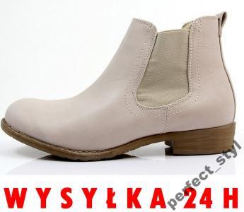 P_S ~ modne botki sztyblety ~ /beige c83/ 39
