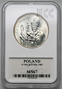 5060. 10.000 zł 1987 Jan Paweł II - GCN MS67