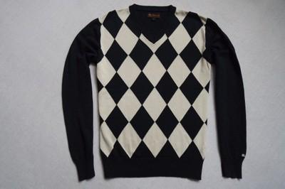 BEN SHERMAN sweter sweterek granatowy logowany_S/M