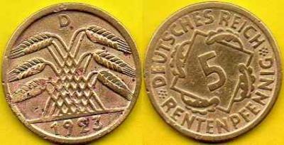 NIEMCY  5 Rentenpfennig  1923 r  D
