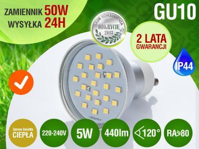 Żarówka GU10 24 LED SMD CIEPŁA 5W 440lm 50W