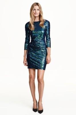 a72e1ce288 H M sukienka cekiny niebieska M karnawał - 6665597115 - oficjalne ...