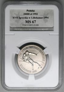 4895. 20.000zł 1993 Lillehammer w opakowaniu PGM