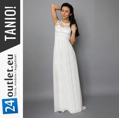 Biała Suknia ślubna Długa Sukienka ślub Cywilny S 6276479547