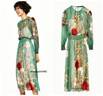 Luksusowa Sukienka w Kwiaty ZARA Exclusive L