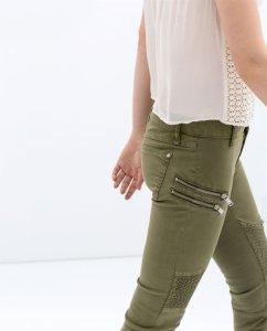 db6c492f9ecf ZARA WOMAN spodnie zielone rurki zamki XS 34 - 6162317046 ...