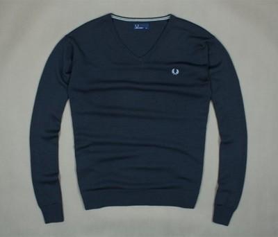 FRED PERRY ~ Granatowy Wełniany Sweterek V-Neck XL