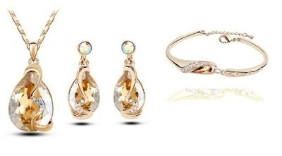 4a3180d58ffa Komplet biżuterii SWAROVSKI złoto Kropla 4KOLORY! - 6381564966 ...