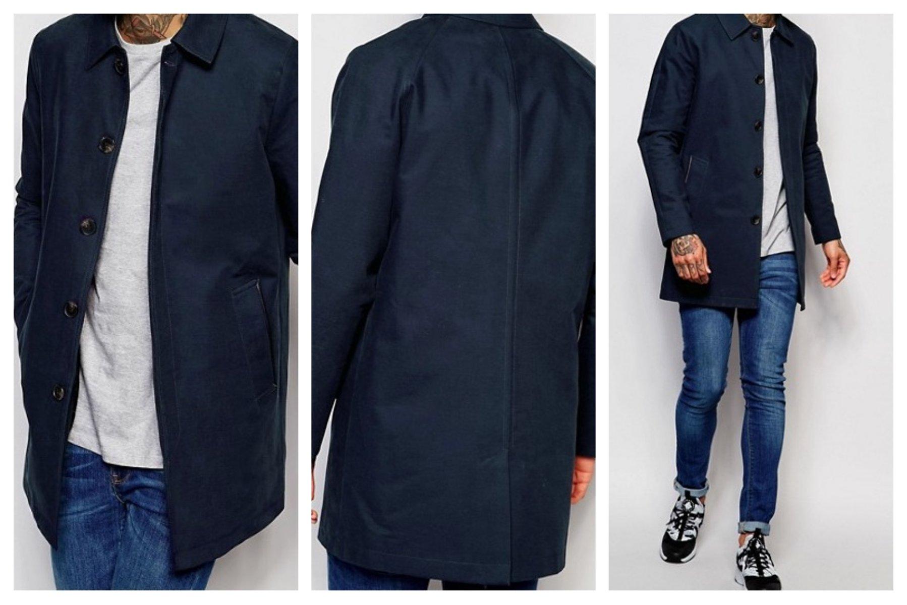 mo38 kurtka płaszcz trencz granatowa bawełna XXS