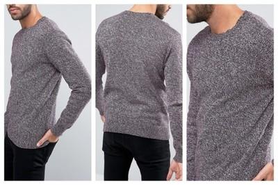 mn15 sweter męski klasyczny melanż bordowy S