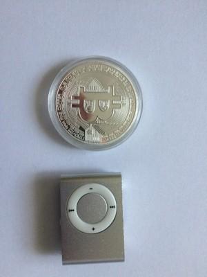 Bitcoin - BTC - Srebrna moneta + MP3