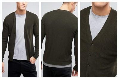 mm99 sweter męski kardigan guziki khaki bawełna L