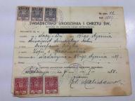 ŚWIADECTWO URODZENIA I CHRZTU 1909 NADARZYN 1951