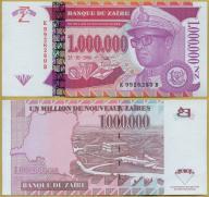 -- ZAIR 1000000 NOUVEAUX ZAIRES 1996 K-B P79 UNC