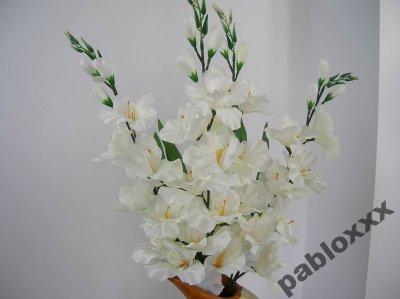 Wd Sztuczne Kwiaty Mieczyki Białe Gałązka 6329108359 Oficjalne