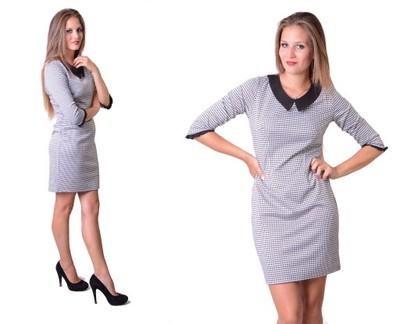3bb988812a Sukienka Jesień Kołnierzyk Pepitka PRODUCENT r.38 - 6931637387 ...