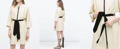 Płaszcz stylowy pasek kremowy ecru 40 Zara wiosna