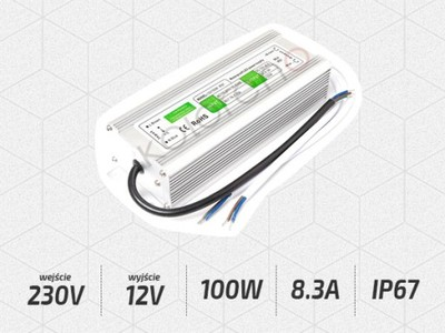 ZASILACZ 12V 100W 8.3A IP67 WODOODPORNY DO T. LED