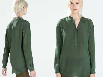 zara koszula zielona w liście