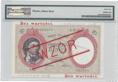 20 złotych 1919 r. Wzór bez perforacji. RZADKOŚĆ
