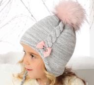 Agoo czapka wiązana ciepła pompon 48-50 zima