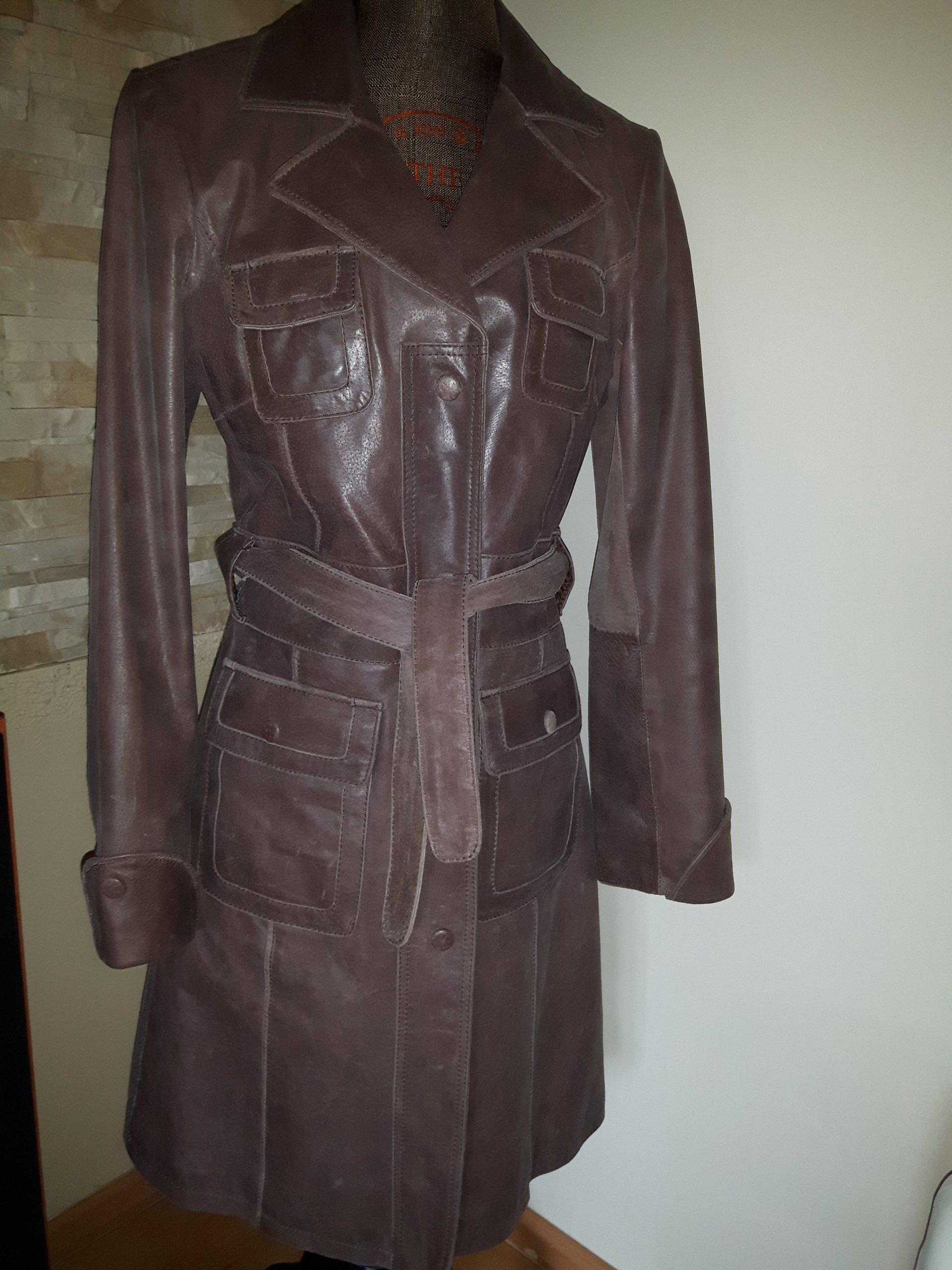 płaszcz skórzany szary męski